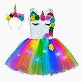 Disfraz de princesa unicornio para niñas con luz LED, tutú de ballet, tul y diadema (3-4 años), D)
