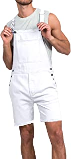 oneforus Men's Overalls Jumpsuit-Solid Color Loose Casual Dungarees Shorts Outdoor Jumpsuit