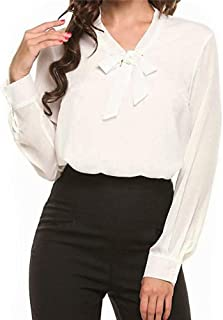 Greetuny Women's Long Sleeve Chiffon Shirt Casual Bow Tie Neck Blouse Top Office Work Blouse Top