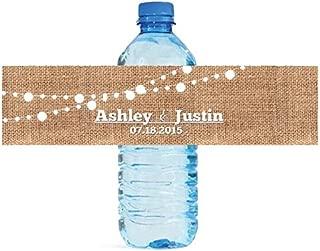 DesignThatSign 100 Burlap and White Market Lights Wedding Anniversary Engagement Party Water Bottle Labels Bridal Shower