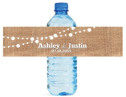 100 Burlap and White Market Lights Wedding Anniversary Engagement Party Water Bottle labels Bridal Shower