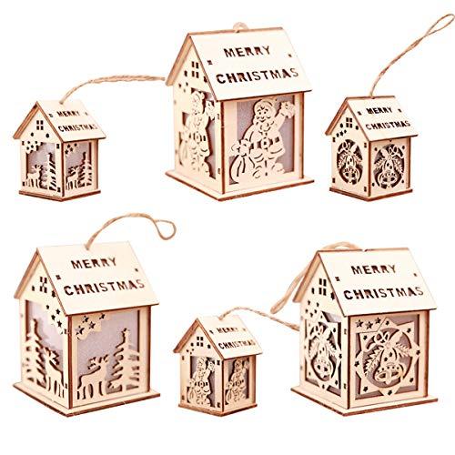 Jinxuny Árbol de Navidad Colgando Adornos Decoraciones Colorido Iluminación LED Casa de Madera Lámpara Colgante Decoración de Navidad