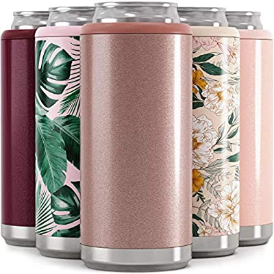 Maars Skinny Can Cooler for Slim Beer & Hard Seltzer | Stainless Steel 12oz Koozy Sleeve, Double Wall Vacuum Insulated Drink Holder - Glitter Rose Gold