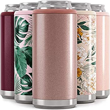 Maars Skinny Can Cooler for Slim Beer & Hard Seltzer | Stainless Steel 12oz Sleeve Double Wall Vacuum Insulated Drink Holder - Glitter Rose Gold | 4 Pack