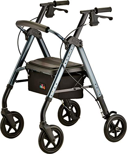 """NOVA Star DX Rollator Walker with Wide Padded Seat, 8"""" Wheels, Fold Lock Feature, Rolling Walker with Adjustable Seat Height & 350 lb Weight Capacity, Blue"""
