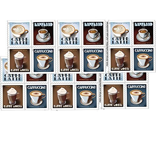 Espresso Drinks First Class Forever Postage Stamps 2 Books of 20 Coffee Caffe Latte Cappuccino Birthday Anniversary Wedding Celebrate (40 Stamps)