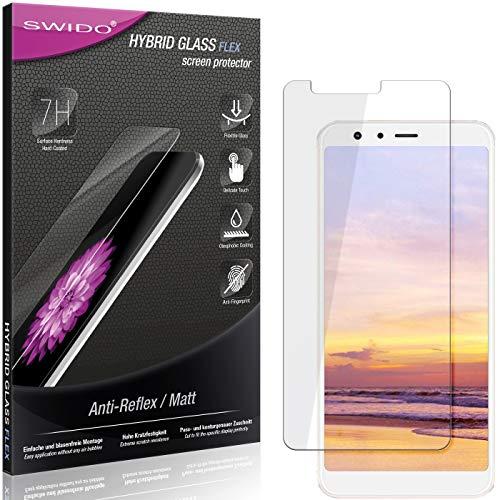 SWIDO Panzerglas Schutzfolie kompatibel mit Asus Zenfone Max Plus (M1) Bildschirmschutz Folie & Glas = biegsames HYBRIDGLAS, splitterfrei, MATT, Anti-Reflex - entspiegelnd