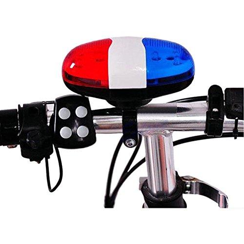JVSISM Bicycle Bell 6 LED 4 Tono de bocina Luz LED Sirena Electronica de Bicicletas Campanas para ninos Accesorios de Bicicletas