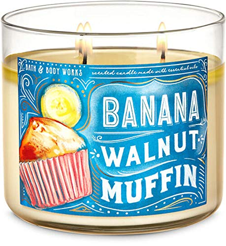 White Barn Candle Company Bath and Body Works 3-Wick Scented Candle w/Essential Oils - 14.5 oz - Many Scents! (Banana Walnut Muffin)