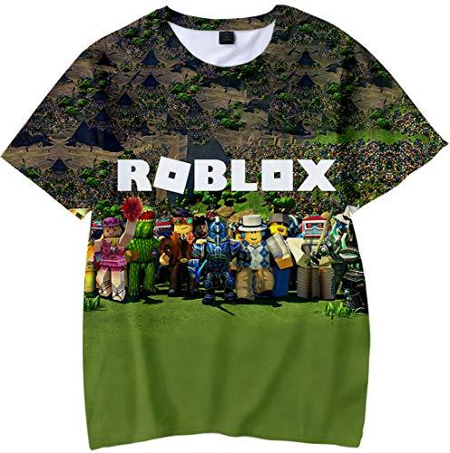 MINIDORA Bambini e Ragazzi T-Shirt Roblox Stampata per Bambini Magliette Casual Manica Corta di Gioco 130,Verde