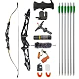 ZSHJGJR Archery 66' 68' 70' Takedown Recurve Bow and Arrow Set 14-40lbs Hunting Target Practice Bow Kit Aluminum Alloy Riser Traditional Longbow for Adult Youth Beginner (Black, 70' 30lbs)