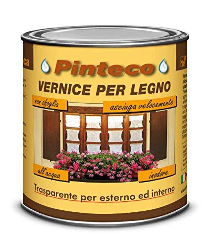Veleca PINTECO LUCIDA Trasparente - ml. 750 - VERNICE ALL ACQUA PER LEGNO DA ESTERNO