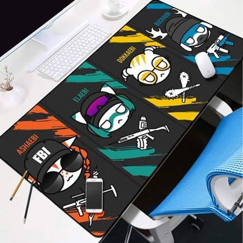 Mouse Pad Desktop Pad Rainbow Six Siege Anime Game Character Ash Ela Dokkaebi Buck Q Version Character Portrait Oversized Non-Slip Professional Gaming Mouse Notebook Desktop Notebook