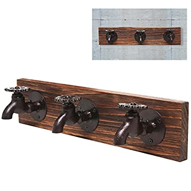 MyGift Country Rustic Old Fashion Faucet Wall Mounted Iron & Wood 3 Coat Hooks Garment, Towels, Hat Hanger Rack