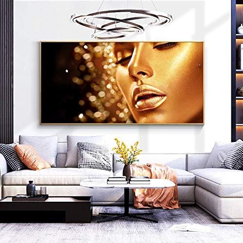 DERFV Golden African Canvas Art Painting Woman Poster Scandinavian Artist Home Decoration