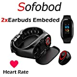 Sofobod Fitness Tracker with Earbuds, Smart Bracelet with Headphone 2 in 1 Smart Band + Bluetooth 5.0 Earbuds,Smart Bracelet with Earphone Heart Rate Blood Pressure Blood Sleep Monitor