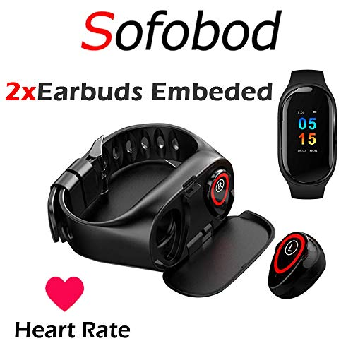 Fitness Tracker with Earbuds, Smart Bracelet with Headphone Sofobod 2 in 1 Smart Band + Bluetooth 5.0 Earbuds,Smart Bracelet with Earphone Heart Rate Blood Pressure Blood Sleep Monitor- Black