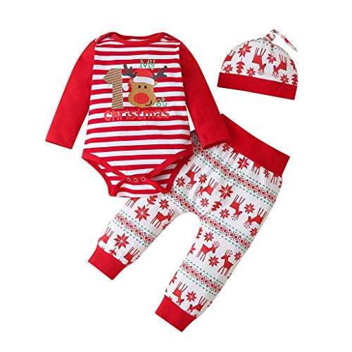 Hbao Natale Neonati Maschi Ragazze Cartoon Abiti a Righe Manica Lunga Tuta Pantaloni Cappello 3 Pezzi Set Set Abbigliamento Neonato (Size : 12-18 Months)