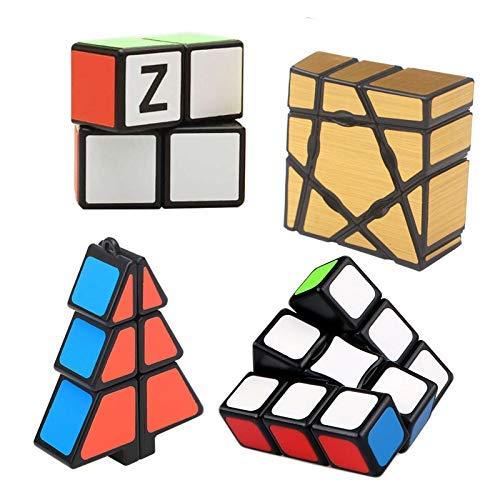 RENFEIYUAN 4 Paquete Conjunto de Disquete de 1 Layer Simple MA S, 1x3x3 1x2x2 1x2x3 133 Fantasma Liso Juego para Principiantes Rubik Cubo