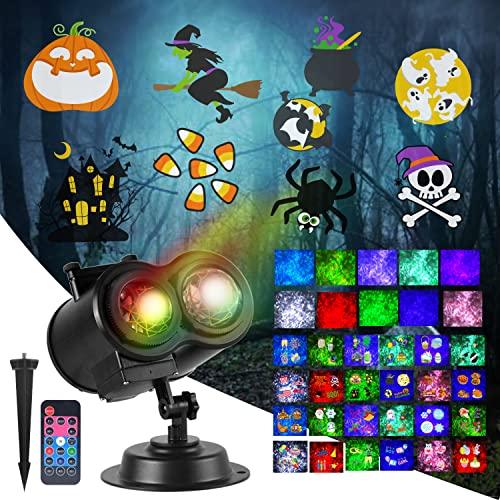 Proyector de luces de Halloween, proyector de vacaciones 2 en 1 con 24 diapositivas temáticas y control remoto para proyector de...