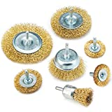 TILAX Wire Brush Wheel Cup Brush Set 7 Piece, Wire Brush for Drill 1/4 Inch Arbor 0.0118 Inch Coarse Brass Coated Crimped Wire Wheel for Used to Clean Rust, Flakes and Abrasives Drill Attachment