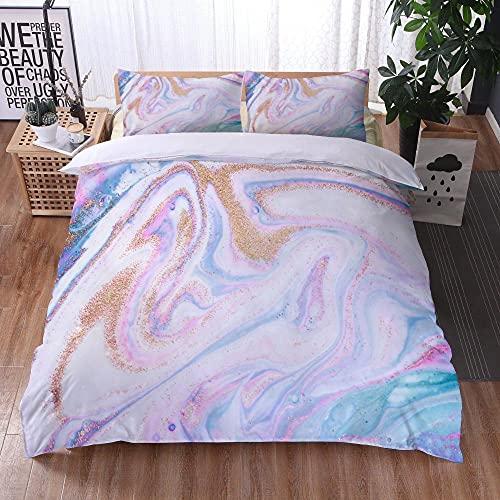 Bedclothes-Blanket Juego de sabanas Cama 150,Ropa de Cama Juego de Tres Piezas de Almohadas 3D Impresión Digital de mármol colorido-13_200x200cm