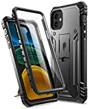 Poetic Compatible with iPhone 11 Case: [6FT Military Grade Drop Protection] iPhone 11 Case with Screen Protector, Heavy Duty Protection, Kickstand, Shockproof Phone Case for iPhone 11 (6.1'), Black