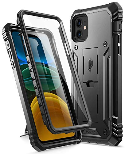 Poetic Compatible with iPhone 11 Case: [6FT Military Grade Drop Protection] iPhone 11 Case with Screen Protector, Heavy Duty Protection, Kickstand, Shockproof Phone Case for iPhone 11 (6.1), Black