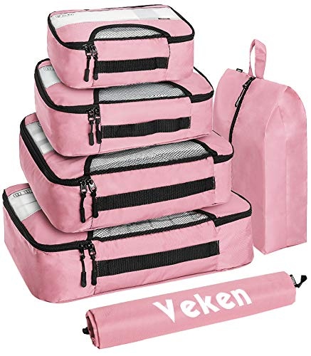 Veken 6 Set Packing Cubes, Travel Luggage Organizers with Laundry Bag & Shoe Bag (Pink)