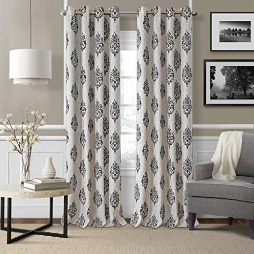 "Elrene Home Fashions Navara Medallion Room Darkening Window Curtain Panel, 52"" x 95"" (1, Black"