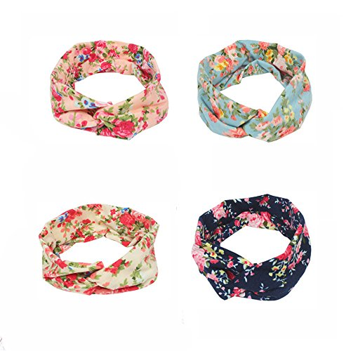 4 Pack Headbands - V-FYEE Print Floral Boho Infant Baby Toddlers Kids Girls Elastic Novelty Headwraps Headwear - Stretchy Knotted Hair Band Gift Set(4 Floral)