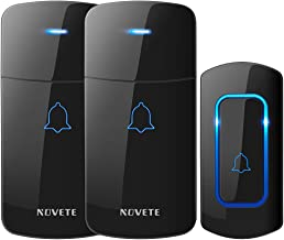 Wireless Doorbell Kit, NOVETE Door Bell Operating at Over 1300 Feet, Waterproof Door Chime Kit with Two Plug-in Receivers, LED Indicators, 52 Melodies, Easy Setup for Home and Office