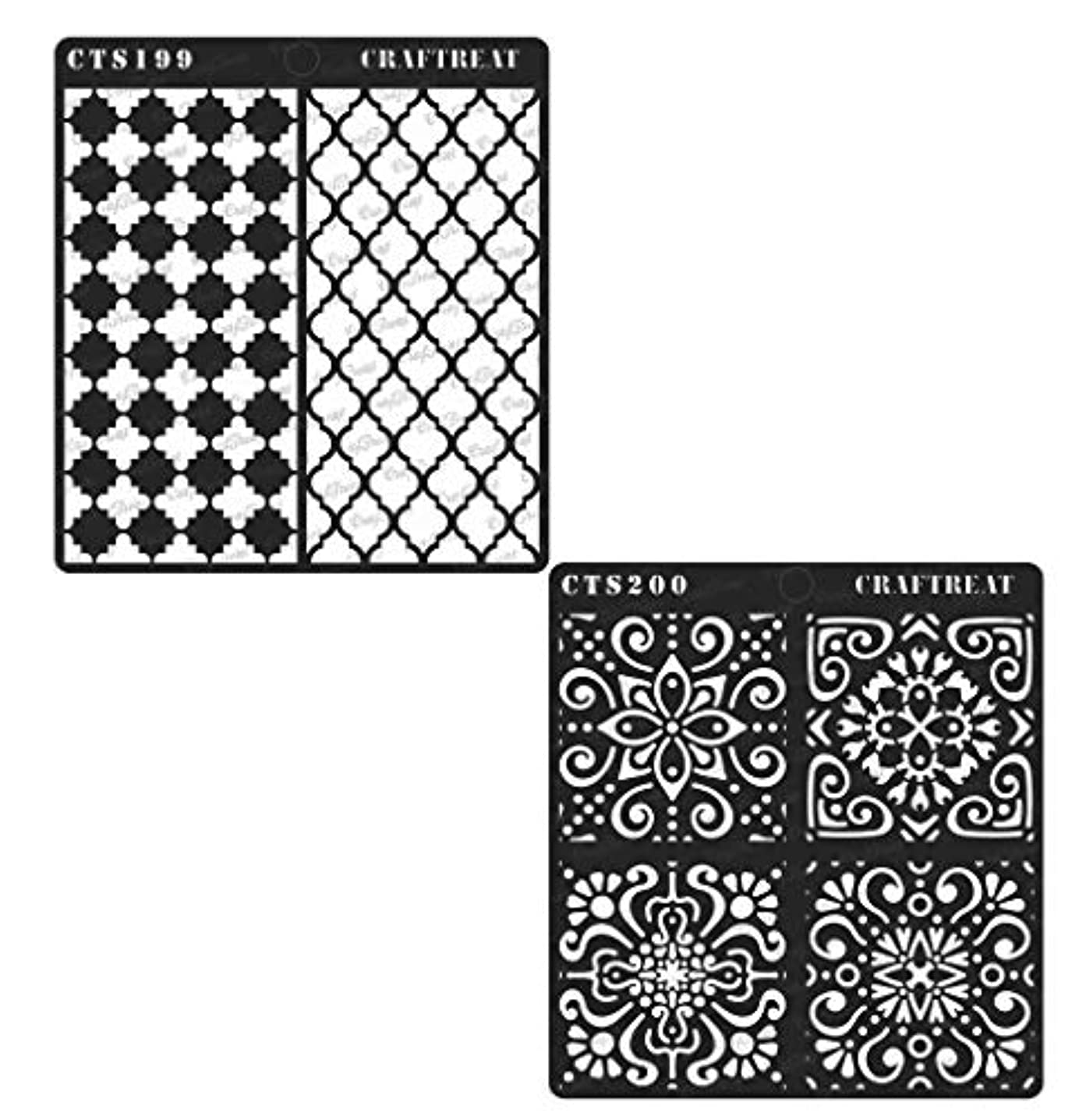 CrafTreat Stencil - Moroccan Trellis & Moroccan Tiles (2 pcs) | Reusable Painting Template for Home Decor, Crafting, DIY Albums, Scrapbook and Printing on Paper, Floor, Wall, Tile, Fabric, Wood 6