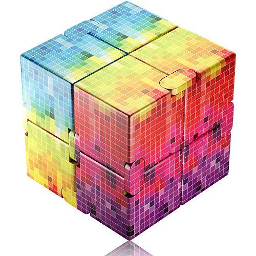 Funxim Infinity Cube, Farbverlaufsmosaik Unendlicher Würfel Spielzeug, Magic Unendlicher Flip Würfel Dekompression Spielzeug, Tötungs Zeit Zappeln Spielwaren Stressabbau Würfel
