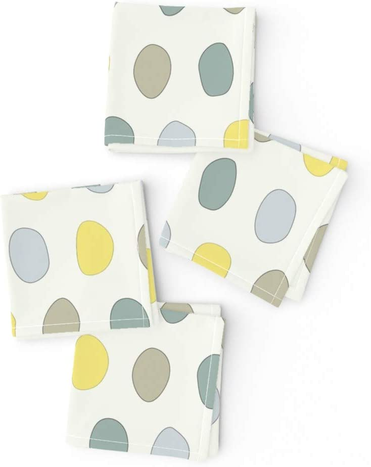 Spoonflower Cloth Cocktail Napkins Special price for a limited time Dots Online limited product Teal Yellow S Gray Blue