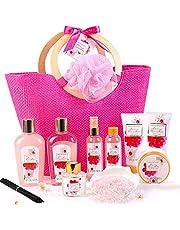 Zestaw upominkowy do łazienki dla kobiet w kolorze różowym - Green Canyon Spa ulepszony 11 szt. kwiat wiśni łącznie z płytką piankową, żelem pod prysznic, solą do kąpieli i torbą do noszenia, zestaw upominkowy dla kobiet