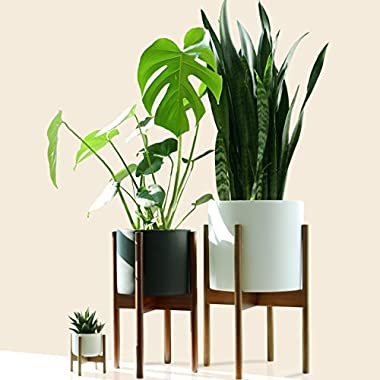 Fox & Fern Mid-Century Modern Plant Stand - Cherry - EXCLUDING 11  White Ceramic Planter Pot