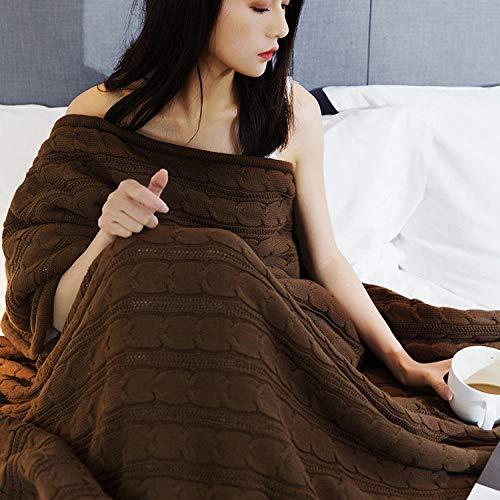 XUMINGLSJ Mantas para Sofa, Mantas para Cama de Franela Reversible, Mantas Ligeras de 100% Microfibra - Fácil De Limpiar - Extra Suave Cálido -Color café_El 120 * 180cm