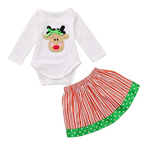 Cuteelf Baby Langarm Weihnachten Kitz gedruckt Strampler + gestreiften Rock Set Baby Hirsch Print Overall Weihnachten gestreiften Print Kleid süß glücklich Bequeme Home Pyjamas