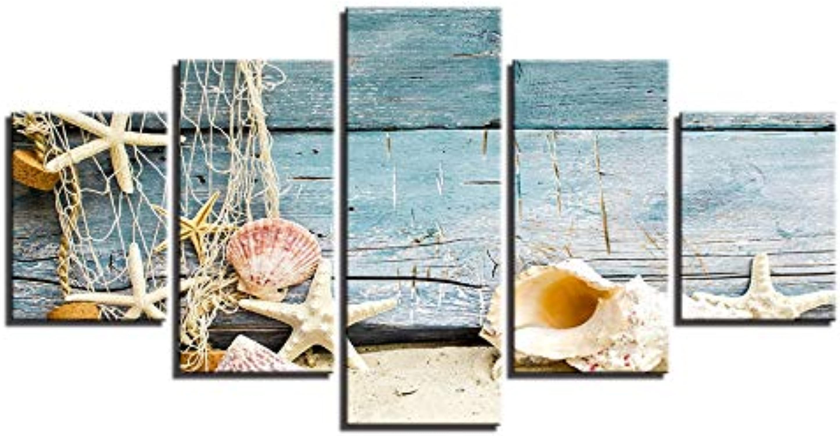 YUGUO 5 Lienzos Modular HD Printed Canvas Framed 5 Pieces Starfish Shells Landscape Picture Painting For Bedroom Living Room Wall Artwork Decor