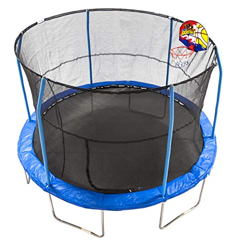 Image of JumpKing 12' Bounce N' Dunk Trampoline & Enclosure Combo with Basketball Hoop Blue