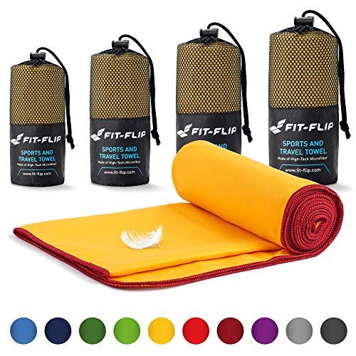 Fit-Flip Reisehandtuch Set – 18 Farben, viele Größen – Ultra leicht & kompakt – das perfekte Fitness Handtuch, Strandliegenhandtuch und Trekking Handtuch (40x80cm, Gelb - Weinrot)