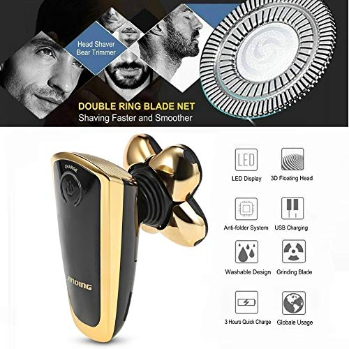 Electric Razor for Men, PJYU Bald Eagle Shaver Rotary Nose Hair Beard Trimmer Clippers Facial Cleansing Brush Waterproof USB Rechargeable Men Grooming Kit with 5 Razor Head
