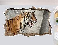 NIUASH ウォールステッカー タイガーインザワイルドタイト3Dウォールステッカールームデコレーションデカール壁画60x90cm 60x90_cm