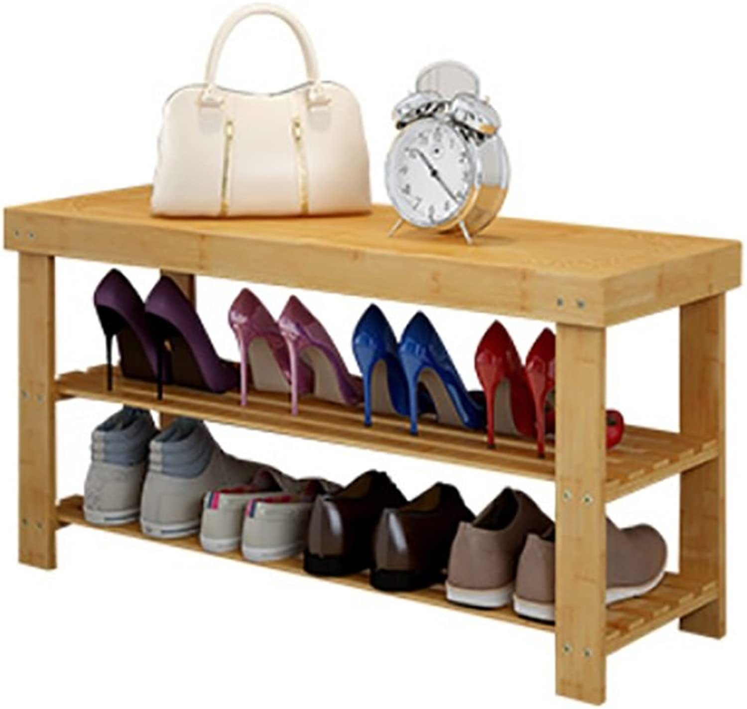 shoes Rack, 2-Layer Natural Bamboo shoes Rack, shoes Bench, Suitable Bathroom, Living Room, Bedroom Hallway (Size   42  27  50cm)