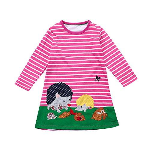 JERFER Baby Kleinkind-Mädchen Langarm Herbst Karikatur Streifen Prinzessin Kleid 1-6T (2T, B)