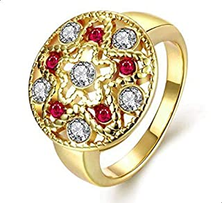 Women 's Ring inlaid with white and red zircon size 7