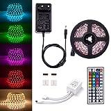 Sunix Kit de Ruban LED RGB 5M 5050 SMD 150 LEDs, Adapteur Flexible Strip Light +...