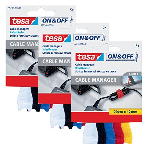 3er Pack tesa 55236-00000 ON & OFF Klett Kabelbinder 3x 5er Set