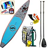 Boardworks SHUBU Raven 12-6 Inflatable Touring SUP Board 2016-2017 Model, Paddle Bundle (5 Items) Stand Up Paddle Board -Incl: Adjustable SUP Paddle + CX 1.5M Foil Kite + WB Can Sleeve & Key Chain Fob